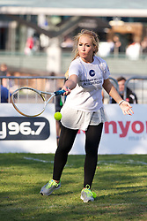 LIVERPOOL, ENGLAND - Monday, June 10, 2013: Northern Vision's Viktoriya Sabotinova during a corporate tennis tournament at Chavasse Park in Liverpool ONE ahead of the Liverpool Hope University International Tennis Tournament. (Pic by David Rawcliffe/Propaganda)