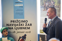 Mayor of Ljubno, Franjo Narolocnik during press conference before FIS Ski World Cup Ladies competition in Ljubno 2018 on January 24, 2018 in BTC, Ljubljana, Slovenia. Photo by Urban Urbanc / Sportida