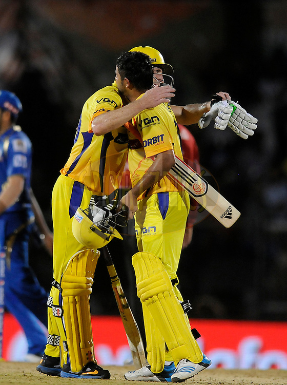 Suresh Raina of The Chennai Superkings and David Hussey of The Chennai Superkings celebrate after winning the eliminator match of the Pepsi Indian Premier League Season 2014 between the Chennai Superkings and the Mumbai Indians held at the Brabourne Stadium, Mumbai, India on the 28th May  2014<br /> <br /> Photo by Pal PIllai / IPL / SPORTZPICS<br /> <br /> <br /> <br /> Image use subject to terms and conditions which can be found here:  http://sportzpics.photoshelter.com/gallery/Pepsi-IPL-Image-terms-and-conditions/G00004VW1IVJ.gB0/C0000TScjhBM6ikg