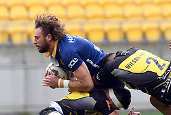 Otago's Josh Furno, left, tackled by Wellington's Leni Apisai in the Mitre 10 Rugby match at Westpac Stadium, Wellington, New Zealand, Sunday October 01,, 2017. Credit:SNPA / Ross Setford  **NO ARCHIVING**