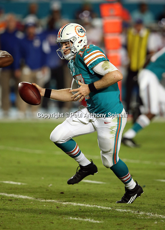 Miami Dolphins quarterback Ryan Tannehill (17) hands off the ball on a running play during the NFL week 14 regular season football game against the New York Giants on Monday, Dec. 14, 2015 in Miami Gardens, Fla. The Giants won the game 31-24. (©Paul Anthony Spinelli)