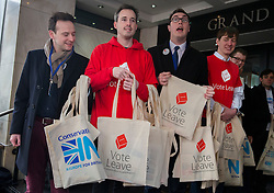 © Licensed to London News Pictures. 08/04/2016. London, UK. Conservative IN and Vote Leave European referendum campaigners offer branded bags to delegates arriving for the Conservative Party Spring Forum in central London.  Photo credit: Peter Macdiarmid/LNP