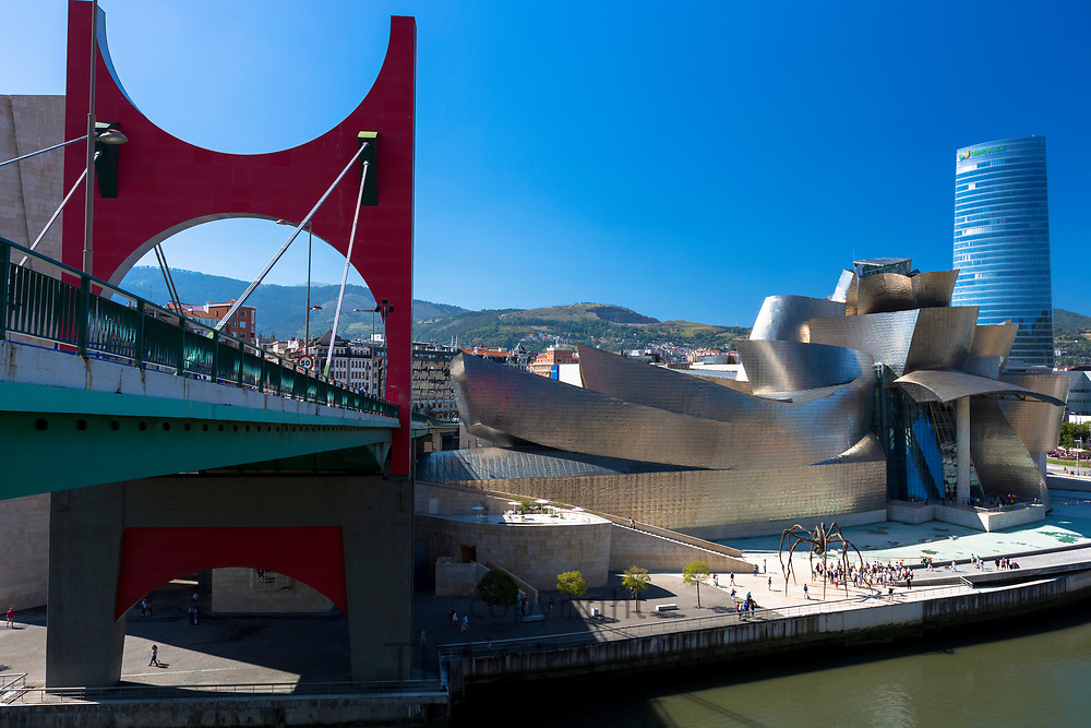 Bilbao Guggenheim Museum, Iberdrola Tower skyscraper and Red Bridge in Basque country, Spain