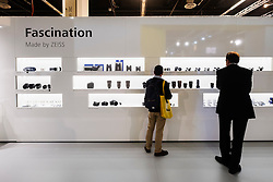 Display of many lenses at Carl Zeiss stand at Photokina trade fair in Cologne, Germany , 2016