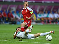 13-06-2012 VOETBAL: UEFA EURO 2012 DAY 6: POLEN OEKRAINE<br /> DANIEL AGGER (DEN), HELDER POSTIGA (POR) during the UEFA EURO 2012 group B match between Denemarken en Portugal at Arena Lwiw, Lemberg, UKR<br /> ***NETHERLANDS ONLY***<br /> ©2012-FotoHoogendoorn.nl