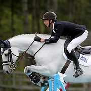 NORTH SALEM, NEW YORK - May 15: Kyle Timm, Canada, riding Cornet's Gold 2, in action during The $50,000 Old Salem Farm Grand Prix presented by The Kincade Group at the Old Salem Farm Spring Horse Show on May 15, 2016 in North Salem. (Photo by Tim Clayton/Corbis via Getty Images)