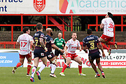 Hull Kingston Rovers centre Justin Carney takes a high ball under pressure  during the Betfred Super League match between Hull Kingston Rovers and Leeds Rhinos at the Lightstream Stadium, Hull, United Kingdom on 29 April 2018. Picture by Mick Atkins.