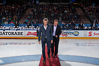 PENTICTON, CANADA - SEPTEMBER 8: Trevor Linden and Mayor Andre Jakubeit on September 8, 2017 at the South Okanagan Event Centre in Penticton, British Columbia, Canada.  (Photo by Marissa Baecker/Shoot the Breeze)  *** Local Caption ***