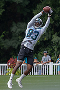 Carolina Panthers wide receiver Damion Jeanpiere (83) catches a pass during training camp at Wofford College, Sunday, August 11, 2019, in Spartanburg, S.C. (Brian Villanueva/Image of Sport)