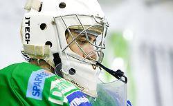 Goalkeeper of Olimpija Matija Pintaric during 52nd Round of EBEL league ice-hockey match between HDD Tilia Olimpija, Ljubljana and EV Vienna Capitals, on February 7, 2010 in Arena Tivoli, Ljubljana, Slovenia. Vienna defeated Olimpija 8-2. (Photo by Vid Ponikvar / Sportida)