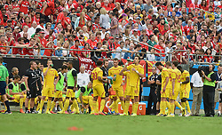 CHARLOTTE, USA - Saturday, August 2, 2014: Liverpool players stop for a water break during the International Champions Cup Group B match against AC Milan at the Bank of America Stadium on day thirteen of the club's USA Tour. (Pic by David Rawcliffe/Propaganda)