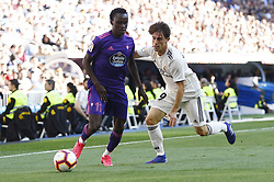 March 16, 2019 - Madrid, Madrid, Spain - RC Celta Vigo's Pione Sisto and Real Madrid CF's Alvaro Odriozola are seen in action during the Spanish La Liga match round 28 between Real Madrid and RC Celta Vigo at the Santiago Bernabeu Stadium in Madrid. (Credit Image: © Manu Reino/SOPA Images via ZUMA Wire)