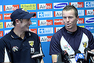 David Hussey and Peter Siddle during the Victorian Bushrangers press conference held at The Wanderers Stadium in Johannesburg on the 6th September 2010 held as part of the build up to the Champions League T20 tournament being held in South Africa between the 10th and 26th September 2010..Photo by: Ron Gaunt/SPORTZPICS/CLT20