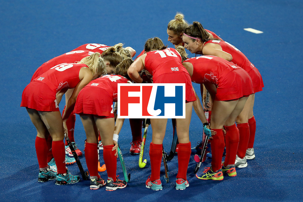 RIO DE JANEIRO, BRAZIL - AUGUST 08:  Team Great Britain huddle against India during a Women's Pool B match on Day 3 of the Rio 2016 Olympic Games at the Olympic Hockey Centre on August 8, 2016 in Rio de Janeiro, Brazil.  (Photo by Sean M. Haffey/Getty Images)