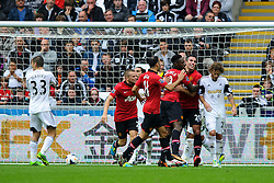 Man Utd players celebrate a goal for Forward Danny Welbeck (ENG) (pictured) during the first half of the match - Photo mandatory by-line: Rogan Thomson/JMP - Tel: Mobile: 07966 386802 17/08/2013 - SPORT - FOOTBALL - Liberty Stadium, Swansea -  Swansea City V Manchester United - Barclays Premier League - First round of the 2013/14 season and the first league match for new Man Utd manager David Moyes.