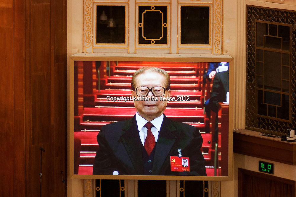 BEIJING, NOV 8, 2012 : Jiang Zemin, former secretary and president of the People's Republic of China, attends the 18th Party Congress of the CPC ( Communist Party Of China ).