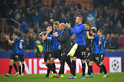 November 26, 2019, Milano, Milano, Italia: Foto LaPresse/Massimo Paolone.26 Novembre 2019 Milano, Italia.Sport.Calcio.Atalanta vs Dinamo Zagabria - Uefa Champions League 2019 2020 - Fase a gironi - Gruppo C.Nella foto: i giocatori dell'Atalanta esultano per la vittoria ..Photo LaPresse/Massimo Paolone.November 26, 2019 Milan, Italy.sport.soccer.Atalanta vs Dinamo Zagreb - Uefa Champions - Group stage - Group C .In the pic: the players of Atalanta celebrate for the victory (Credit Image: © Massimo Paolone/Lapresse via ZUMA Press)