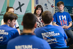 "© Licensed to London News Pictures . 15/04/2016 . Manchester , UK . LUCY POWELL MP visits Manchester Metropolitan University Business School and talks to students and supporters to campaign for the "" Britain Stronger in Europe "" campaign . Photo credit: Joel Goodman/LNP"