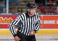KELOWNA, CANADA - SEPTEMBER 3: Linesman, Dustin Minty skates on the ice as the Kelowna Rockets take on the Victoria Royals on September 3, 2016 at Prospera Place in Kelowna, British Columbia, Canada.  (Photo by Marissa Baecker/Shoot the Breeze)  *** Local Caption *** Dustin Minty;