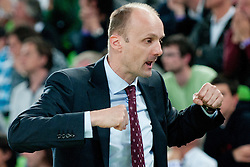 Jure Zdovc, Head Coach of Union Olimpija, during second semi-final match of Basketball NLB League at Final four tournament between KK Union Olimpija and Krka (SLO), on April 19, 2011 at SRC Stozice, Ljubljana, Slovenia. (Photo By Matic Klansek Velej / Sportida.com)