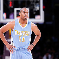 23 November 2014: Denver Nuggets guard Arron Afflalo (10) rests during the Los Angeles Lakers season game versus the Denver Nuggets, at the Staples Center, Los Angeles, California, USA.