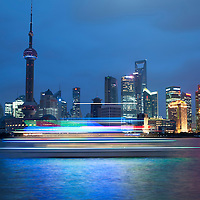 Pudong, Shanghai, China at night
