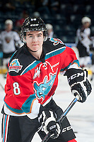 KELOWNA, CANADA - NOVEMBER 8: Tate Coughlin #18 of Kelowna Rockets warms up against the Vancouver Giants on November 8, 2014 at Prospera Place in Kelowna, British Columbia, Canada.   (Photo by Marissa Baecker/Shoot the Breeze)  *** Local Caption *** Tate Coughlin;
