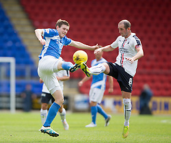 St Johnstone's Blair Alston and Falkirk's Mark Kerr. Half time ; St Johnstone 2 v 0 Falkirk, Group B, Betfred Cup, played 23/7/2016 at St Johnstone's home ground, McDiarmid Park.