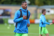 Forest Green Rovers Ethan Pinnock(16) warming up during the Vanarama National League match between Forest Green Rovers and Barrow at the New Lawn, Forest Green, United Kingdom on 1 October 2016. Photo by Shane Healey.