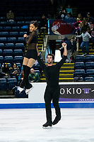 KELOWNA, BC - OCTOBER 24:  Team USA figure skaters, Jessica Calalang and Brian Johnson, warm up on the ice during pairs practice of Skate Canada International at Prospera Place on October 24, 2019 in Kelowna, Canada. (Photo by Marissa Baecker/Shoot the Breeze)