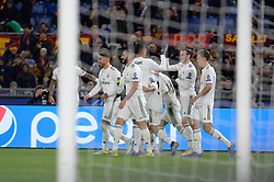 November 27, 2018 - Rome, Italy - Gareth Balecelebrates after scoring goal 0-1 during the UEFA Champions League match group G between AS Roma and Real Madrid FC at the Olympic stadium on november 27, 2018 in Rome, Italy. (Credit Image: © Silvia Lore/NurPhoto via ZUMA Press)