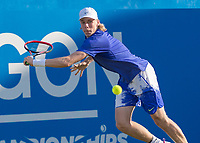 Tennis - 2017 Aegon Championships [Queen's Club Championship] - Day Three, Wednesday<br /> <br /> Men's Singles: Round of 16 _ Tomas Berdych (CZE) Vs Denis Shapovalov (CAN)<br /> <br /> Denis Shapovalov (CAN) stretches to make the return at Queens Club<br /> <br /> COLORSPORT/DANIEL BEARHAM