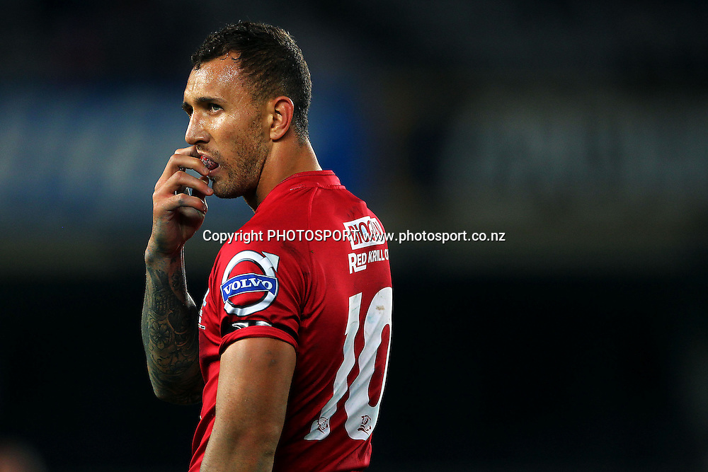 Quade Cooper of the Reds looks on. Super Rugby rugby union match, Blues v Reds at Eden Park, Auckland, New Zealand. Friday 2nd May 2014. Photo: Anthony Au-Yeung / photosport.co.nz