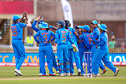 India celebrate the wicket of England womens cricket Sarah Taylor (wk)  caught by India womens cricket Mona Meshram  during the ICC Women's World Cup match between England and India at the 3aaa County Ground, Derby, United Kingdom on 24 June 2017. Photo by Simon Davies.