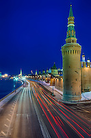View of the side street of the Kremlin and the Moskva River in Moscow, Russia.