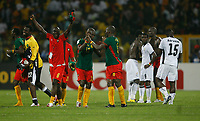 Photo: Steve Bond/Richard Lane Photography.<br />Ghana v Cameroon. Africa Cup of Nations. 07/02/2008. Cameroon celebrate (L) as Ghana are dejected