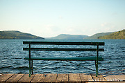 Bench with a view from the southern tip of Otsego Lake looking north.
