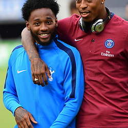 (L-R) Georges Kevin Nkoudou of Spurs and Kimpembe Presnel of PSG, who played together for the France under 21s team, before the International Champions Cup match between Paris Saint Germain and Tottenham Hotspur on July 22, 2017 in Orlando, United States. (Photo by Dave Winter/Icon Sport)