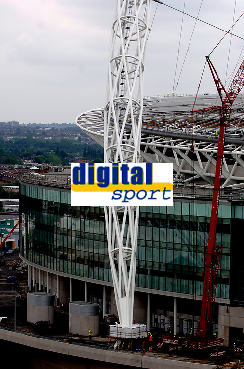 Photo: Daniel Hambury.<br /> Wembley Stadium. 14/06/2006.<br /> A detail showing part of the famous arch of the new home of English football, Wembley, seen from the roof of the nearby Ibis hotel.
