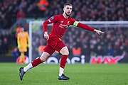 Liverpool midfielder Jordan Henderson (14) in action during the Champions League match between Liverpool and Napoli at Anfield, Liverpool, England on 27 November 2019.