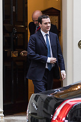 Downing Street, London, March 22nd 2016. Chancellor of the Exchequer George Osbourne leaves for the Houses of Parliament to attend the budget debate. ©Paul Davey<br /> FOR LICENCING CONTACT: Paul Davey +44 (0) 7966 016 296 paul@pauldaveycreative.co.uk
