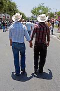 Los Angeles Pride Cowboys, Men, Holding Hands, Cowboy Hats, LA Pride 2010 West Hollywood, CA Parade