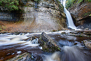 PICTURED ROCKS NATIONAL LAKESHORE - October 2016: A view of Miners Falls in Pictured Rocks National Lakeshore. The Miners River drops about 50 feet over a sandstone outcrop creating the waterfall. <br />