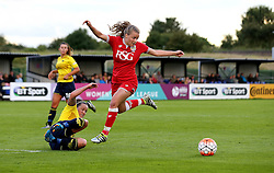 Olivia Fergusson of Bristol City Women is tackled - Mandatory by-line: Robbie Stephenson/JMP - 25/06/2016 - FOOTBALL - Stoke Gifford Stadium - Bristol, England - Bristol City Women v Oxford United Women - FA Women's Super League 2