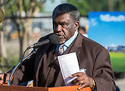 Pastor G.T. Curry gives the invocation during ground breaking ceremonies at Washington High School, April 5, 2016.