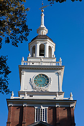 Clock tower of Independence Hall, Independence National Historical Park, Philadelphia, Pennsylvania, United States of America