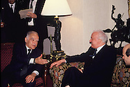 Yitzak Shamir and Eduard Shevardnadze meet in Washington DC in December 1990<br /> Photo by Dennis Brack