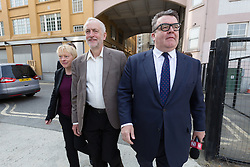© Licensed to London News Pictures. 07/06/2016. LONDON, UK.  ANGELA EAGLE, JEREMY CORBYN and TOM WATSON arrive to launch a new poster for the 'Labour In for Britain' campaign, to Remain in the European Union (EU) at Green Space in London..  Photo credit: Vickie Flores/LNP