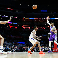 12 October 2017: Sacramento Kings guard Garrett Temple (17) passes the ball to Sacramento Kings forward Skal Labissiere (7) during the LA Clippers 104-87 victory over the Sacramento Kings, at the Staples Center, Los Angeles, California, USA.