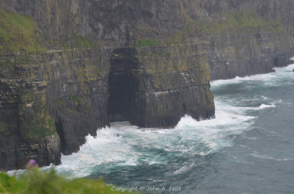 The weather was totally against us the day we visited the cliffs.  There were gale force winds and intermittent rain. County Clare, Ireland